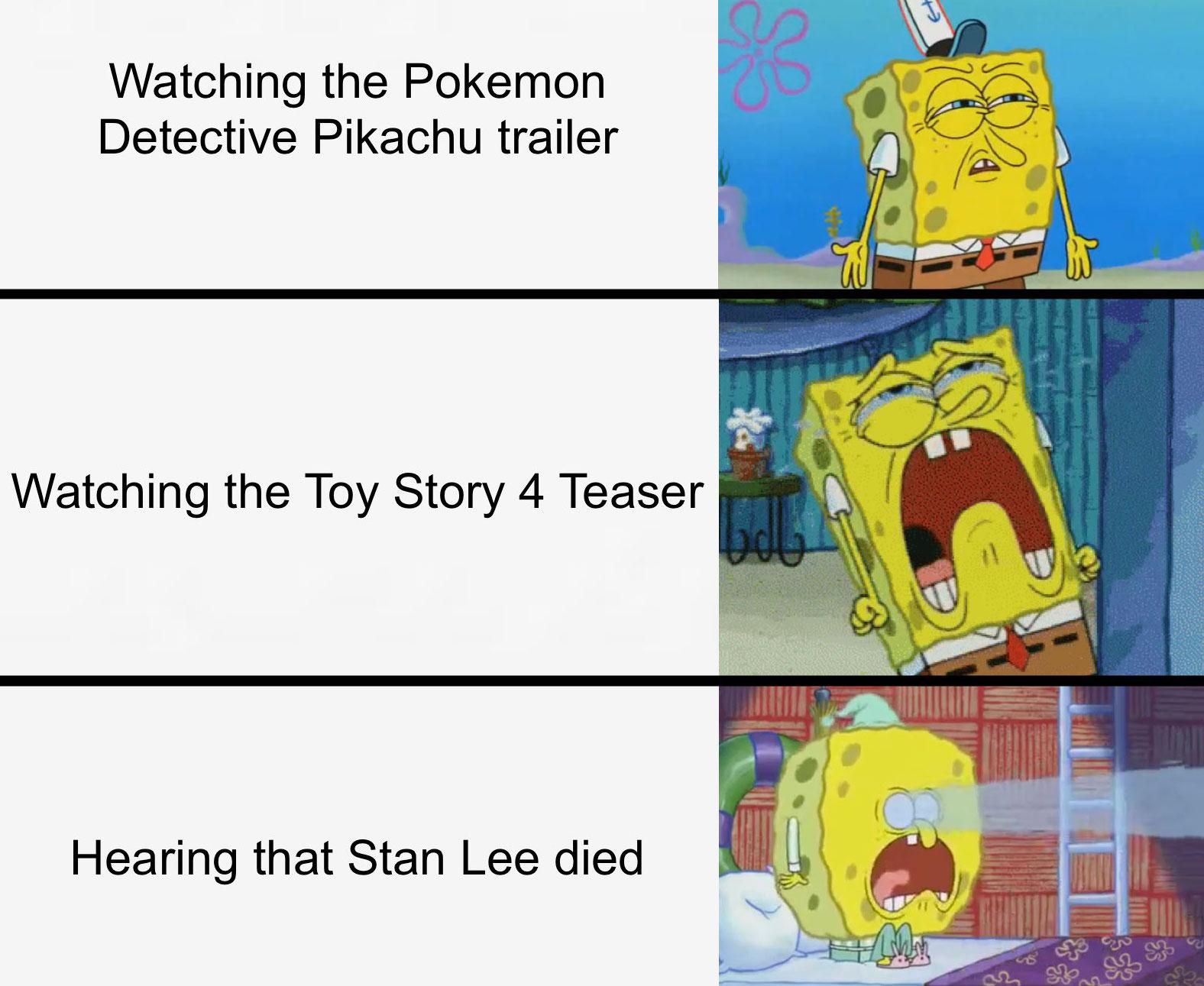 Watching the pokemon detective pikachu trailer watching the toy story 4 teaser hearing that stan lee