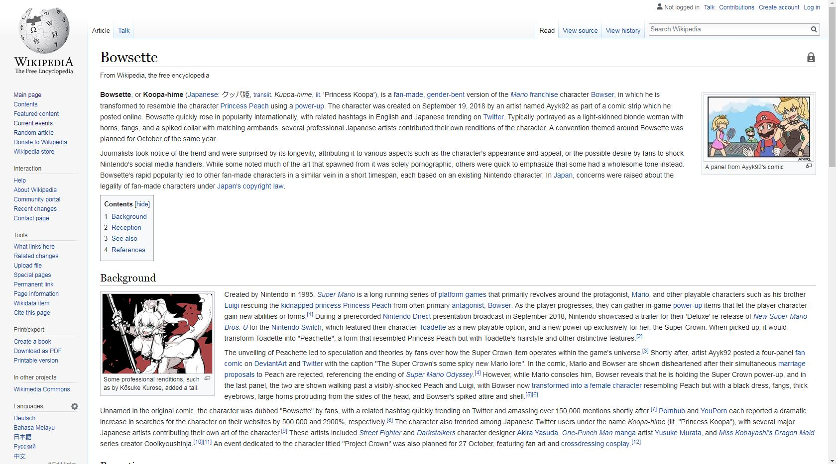 So, Bowsette has an official wikipedia page   Bowsette
