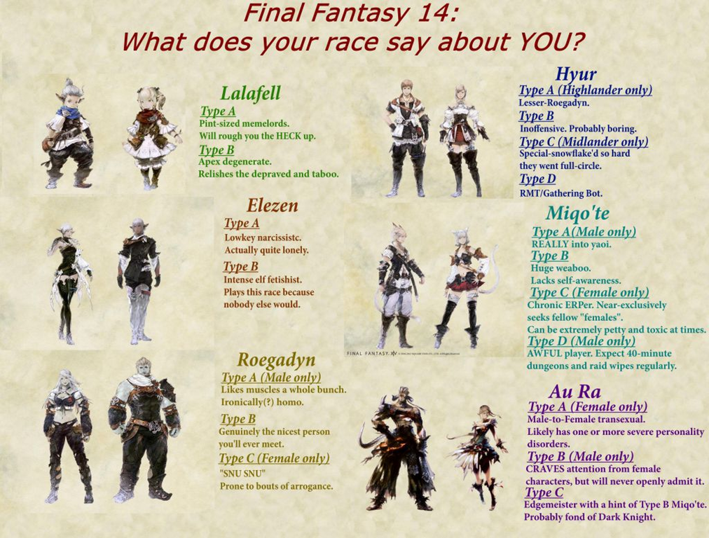 What does your race say about you? | Final Fantasy XIV | Know Your Meme