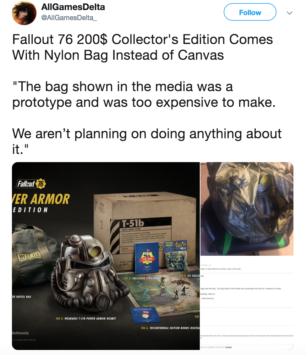 ebd0c1d35c7 AllGamesDelta  AllGamesDelta  Follow Fallout 76 200  Collector s Edition  Comes With Nylon Bag Instead of