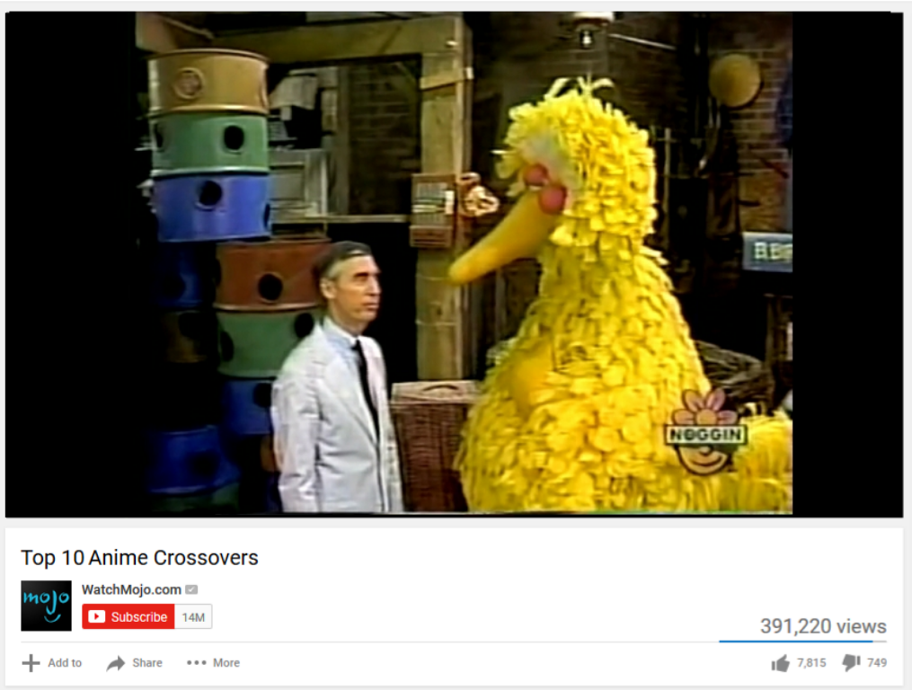 Mr Rogers Visits Sesame Street Top 10 Anime List Parodies Know Your Meme