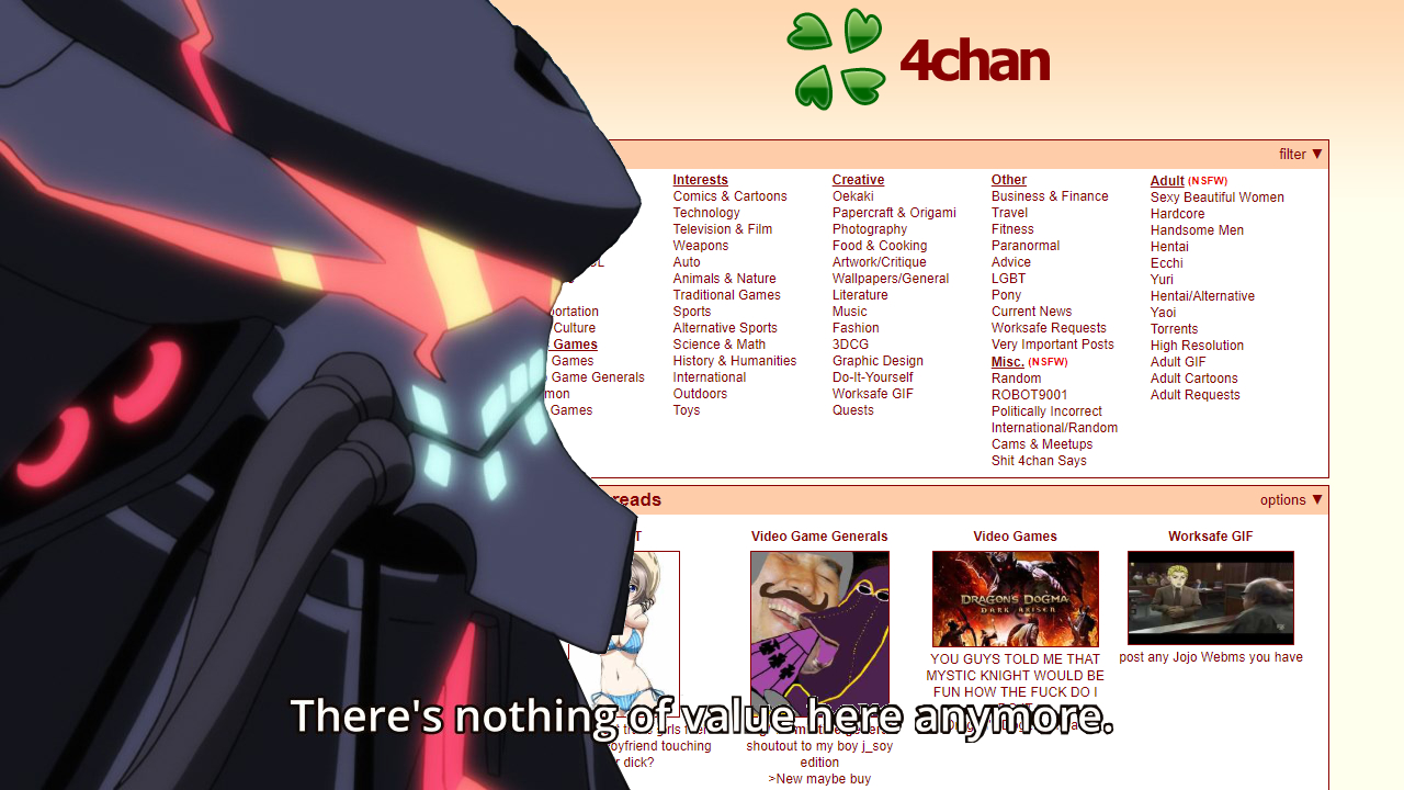 4chan filter Interests Comics & Cartoons Technology Television & Film  Weapons Auto Animals & Nature Traditional