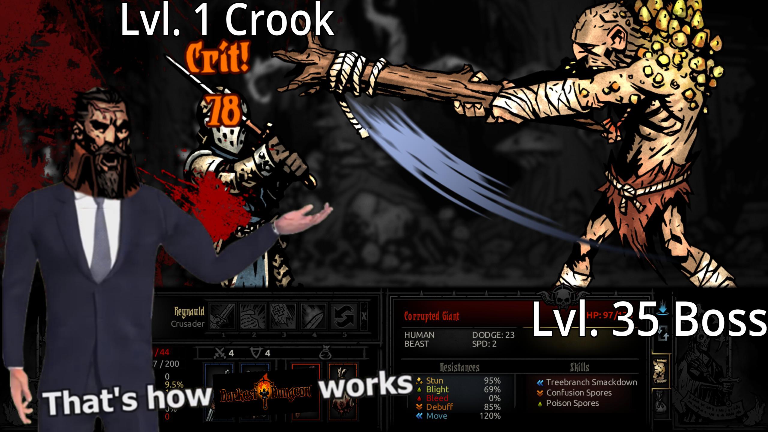 Lvl 1 crook c rit 치4 18 eynauld crusader v 35 boss