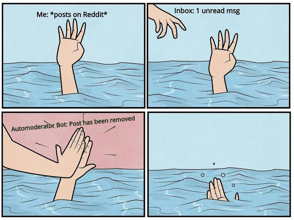 Reddit Automod   Drowning High Five   Know Your Meme