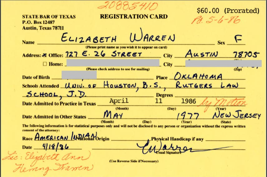 State Bar of Texas Registration Card | Elizabeth Warren