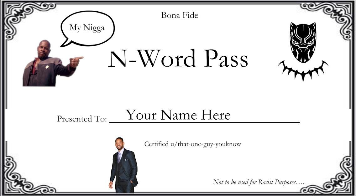 N Word Pass Card Meme