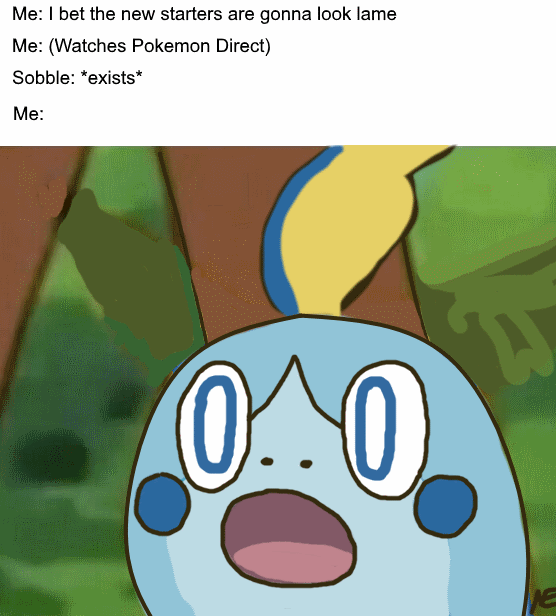 Surprised Sobble Original Pokemon Sword And Shield Know Your Meme