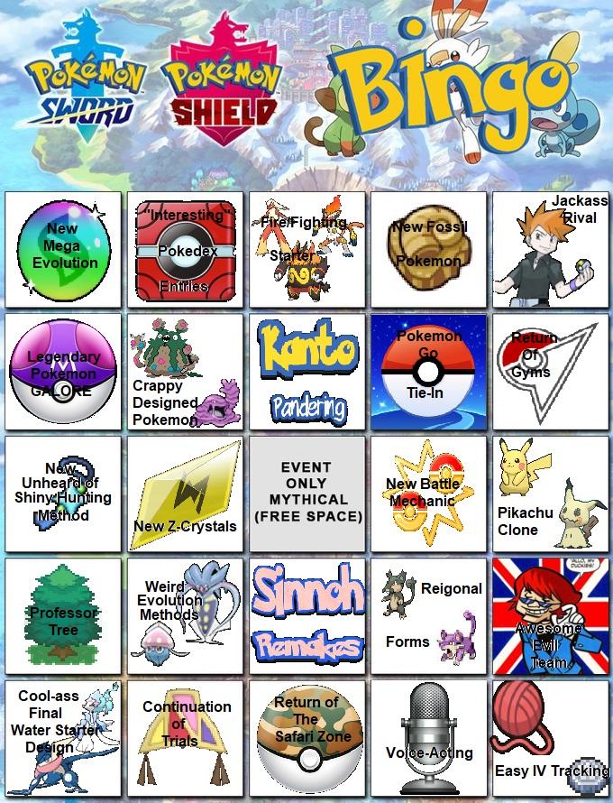 Pokemon Sword Pokemon Shield Bingo Card Pokemon Sword And Shield