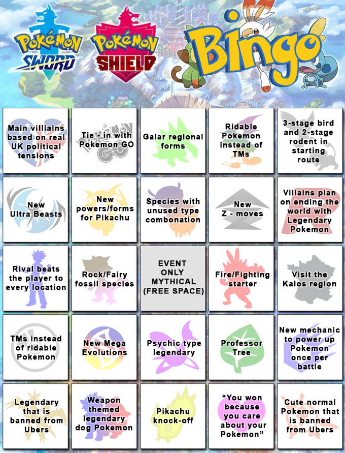 Pokemon Sword Shield Bingo Card Pokemon Sword And Shield Know