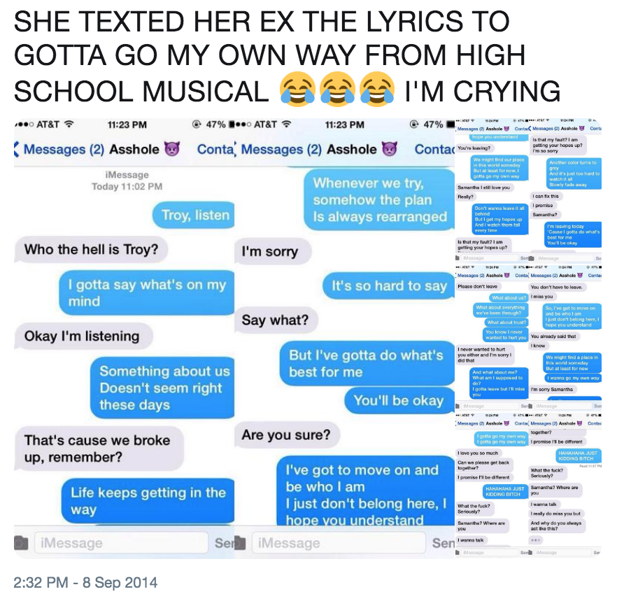 SHE TEXTED HER EX THE LYRICS TO GOTTA GO MY OWN WAY FROM