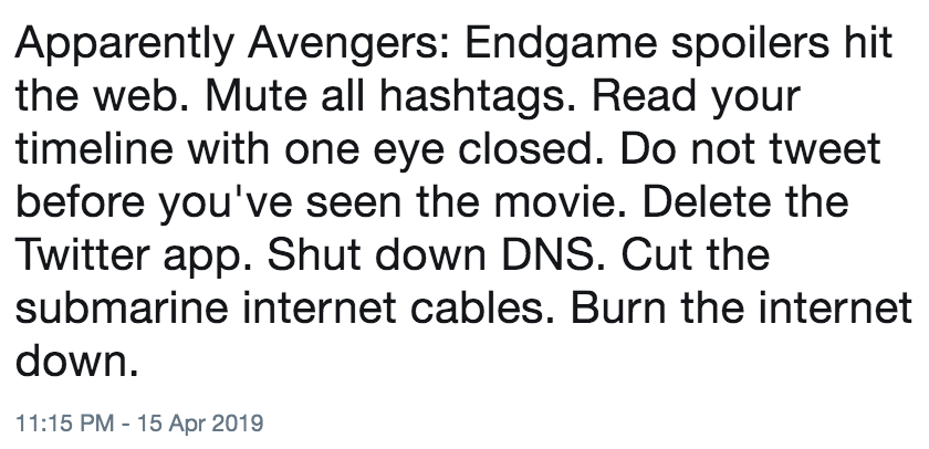 Apparently Avengers: Endgame spoilers hit the web  Mute all hashtags