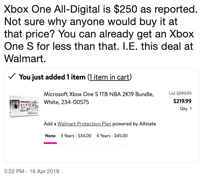 Xbox One All-Digital is $250 as reported  Not sure why