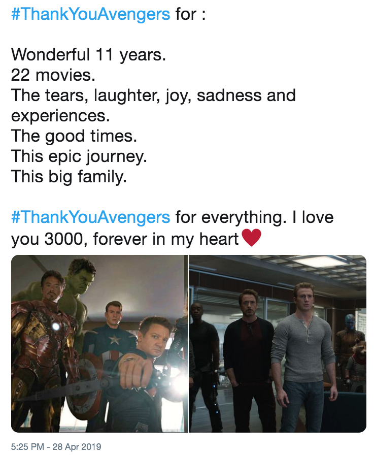 ThankYouAvengers for : Wonderful 11 years  22 movies  The