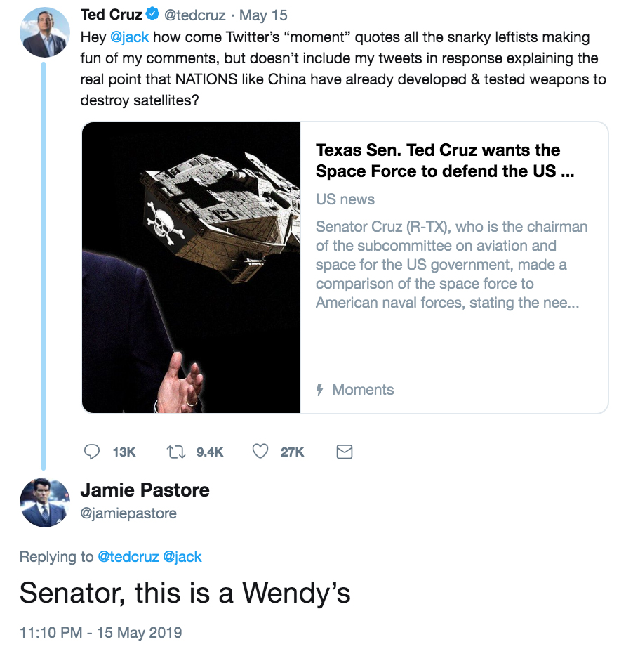 Senator, this is a Wendy's | Ted Cruz's Space Pirates | Know