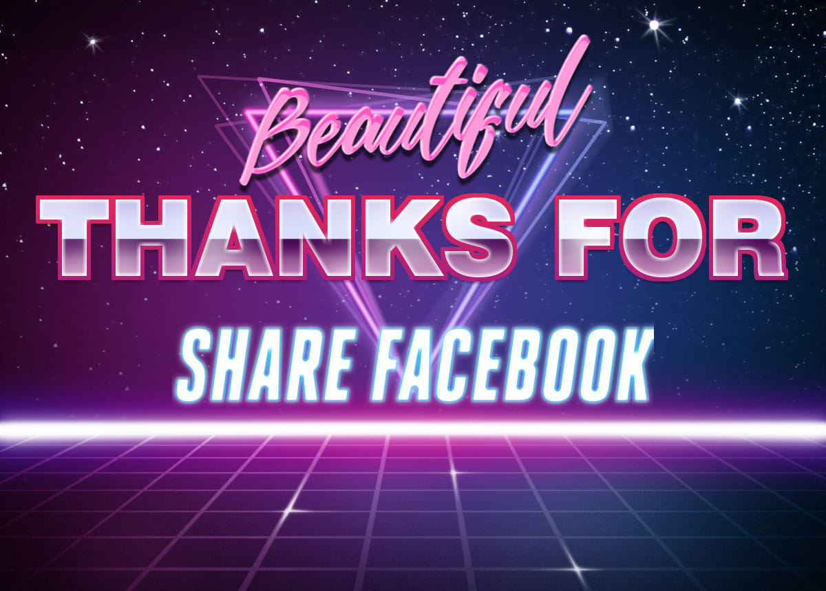 Beautiful thanks for share Facebook | Retrowave Text