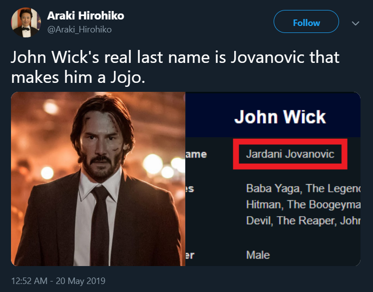 John Wick Is A Jojo Now John Wick Know Your Meme