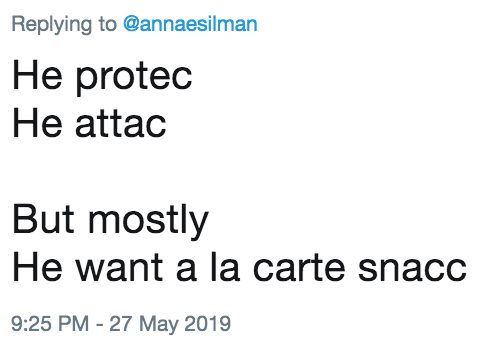 La Carte But.He Protec He Attac But Mostly He Want A La Carte Snacc Dog