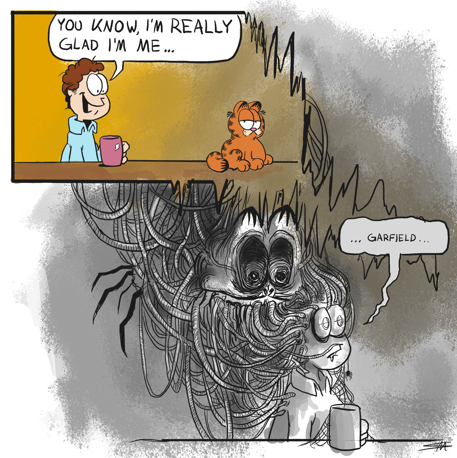 Your Life Is An Illusion Your Reality A Gift Creepy Garfield Know Your Meme