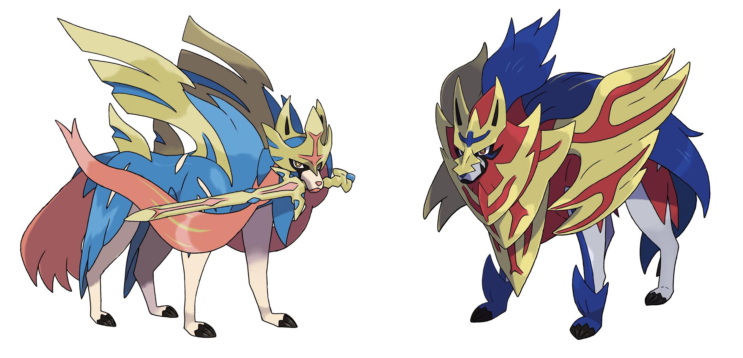 Official Art Of Main Legendaries Zacian And Zamazenta Pokemon