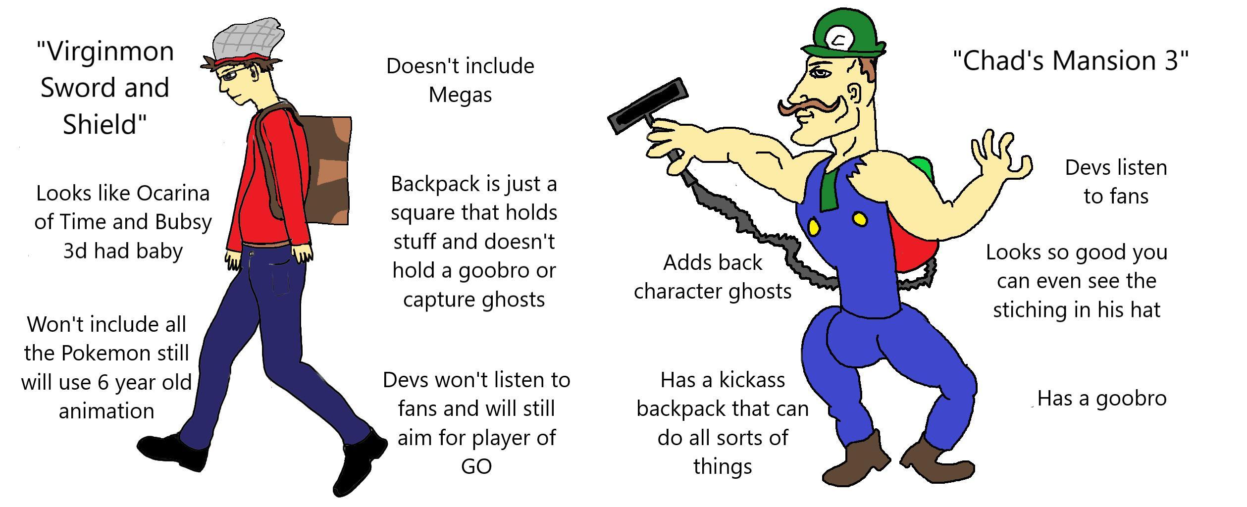 The Virgin Pokemon Sword And Shield Vs The Chad Luigi S Mansion 3