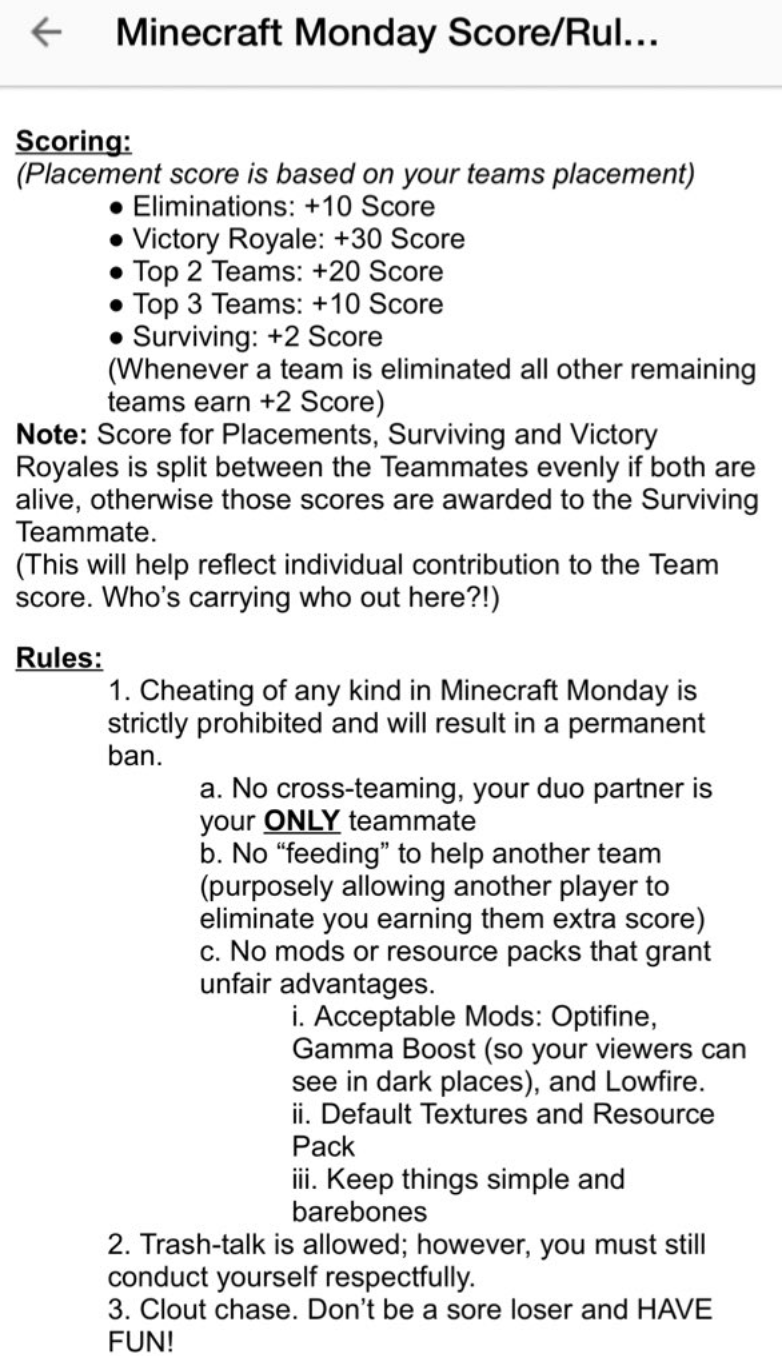 rules  Minecraft Monday  Know Your Meme