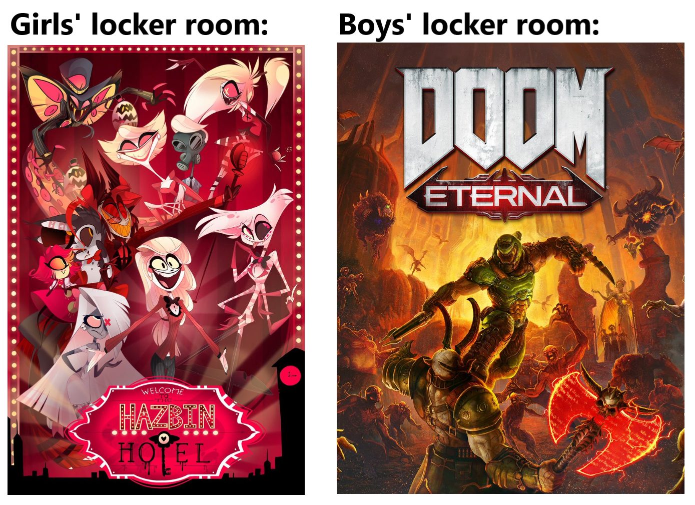 Girls Hell And Boys Hell Boys Locker Room Know Your Meme