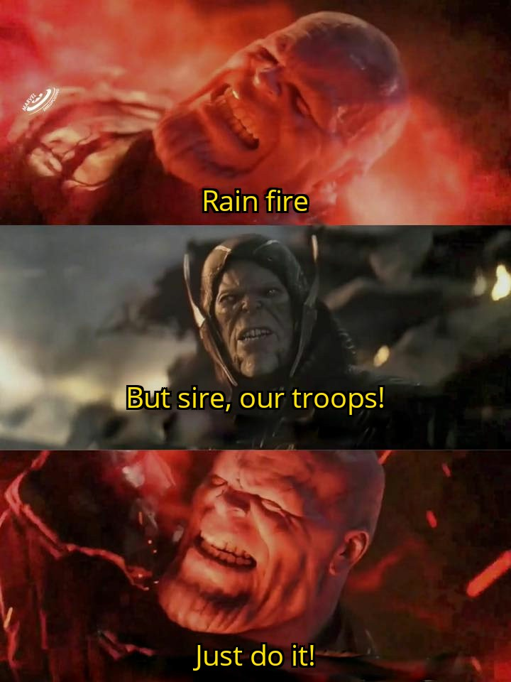 Image result for rain fire scene thanos