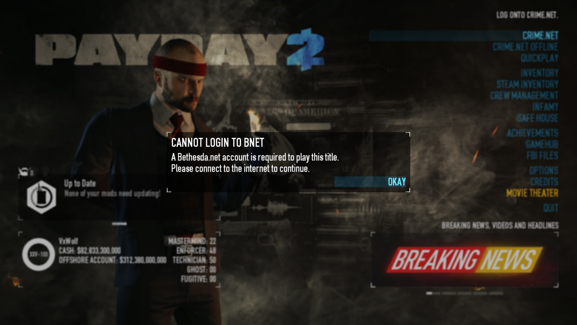 PAYDAY 2 Edition   A Bethesda Account Is Required   Know