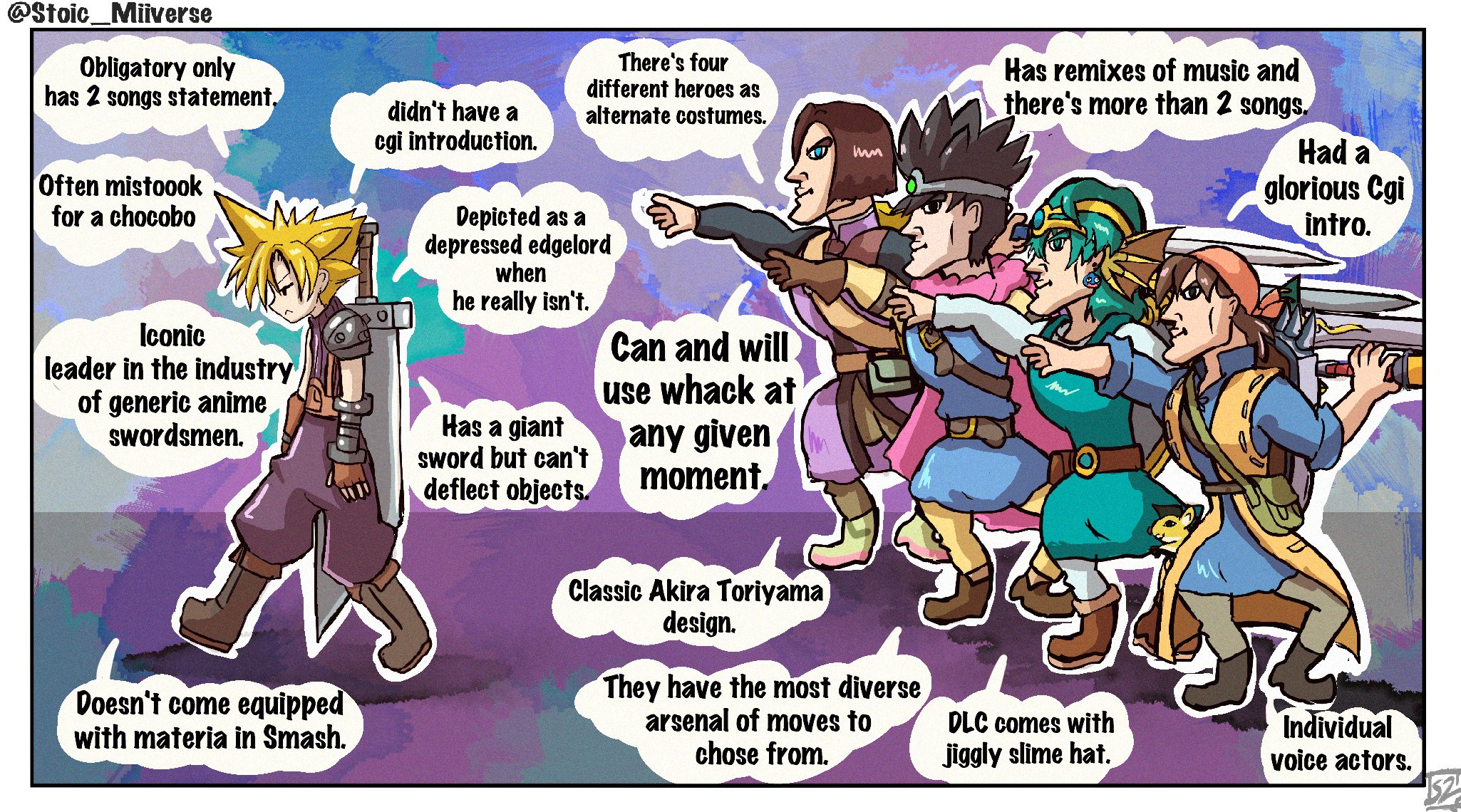 Comprehensive Look Of Cloud And The Heroes In Smash Bros Stoic