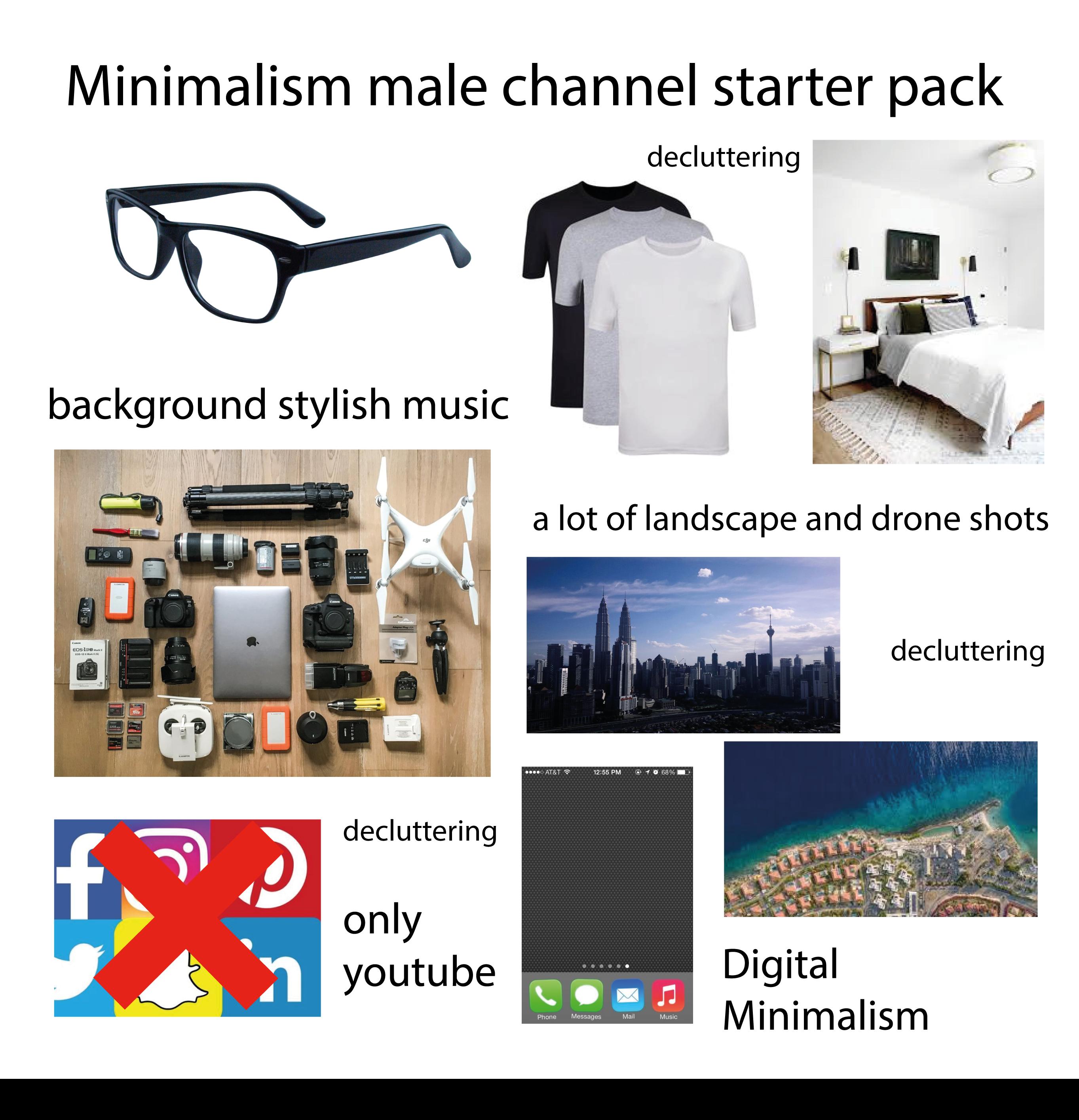 Minimalism male channel starter pack | r/starterpacks | Starter Packs |  Know Your Meme