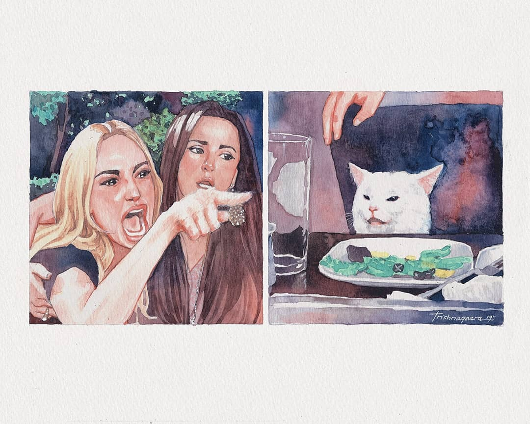 Art Print by @Trishnagaara  Woman Yelling at a Cat  Know Your Meme