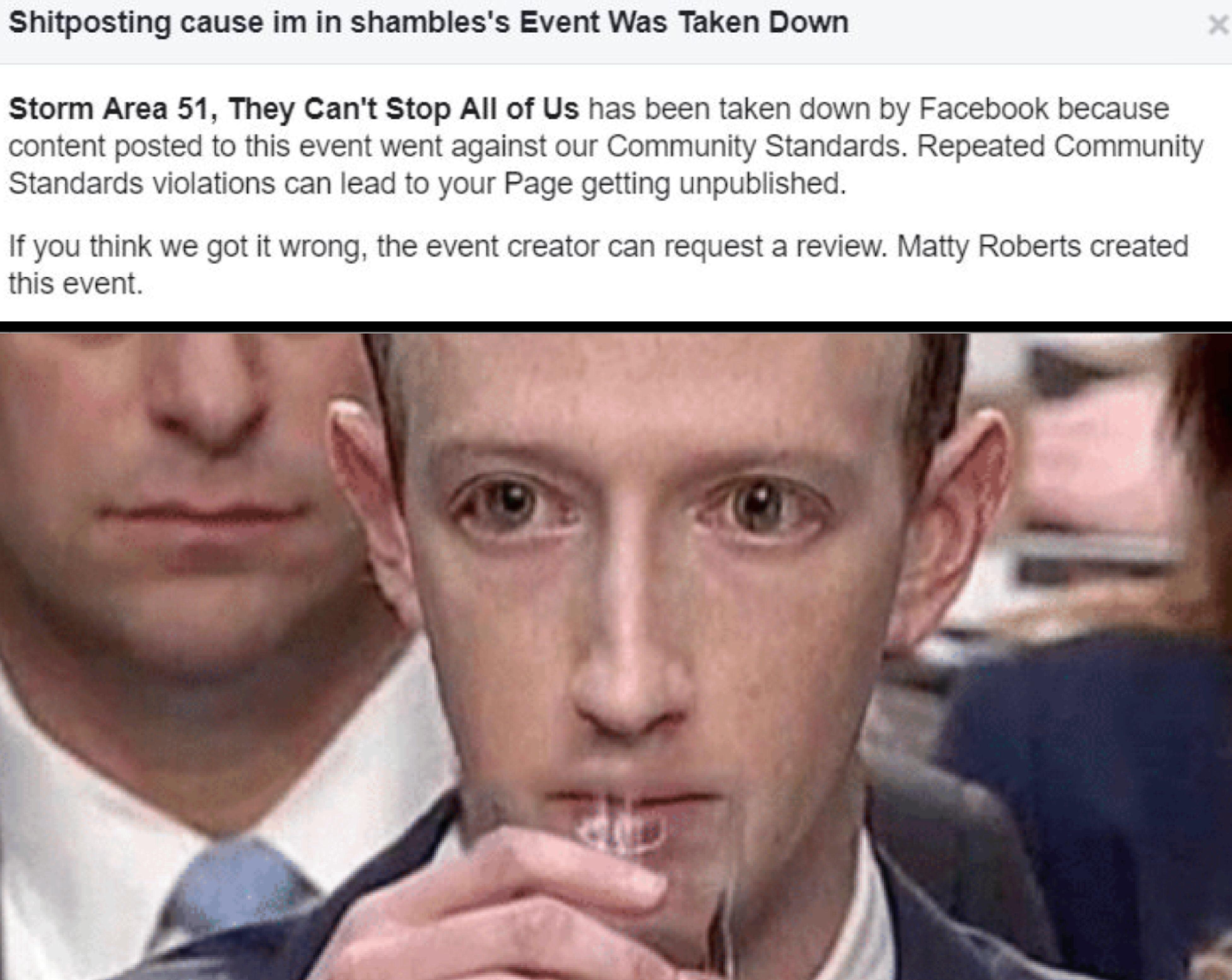 Facebook removal   Storm Area 51   Know Your Meme