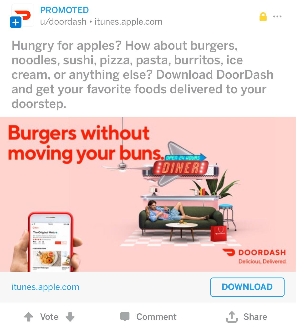 """Reddit Ad using Jerry's slogan """"Hungry for apples?""""   r"""