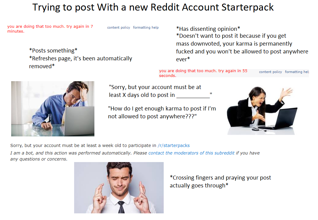Trying to Post on a New Reddit Account Starterpack   r