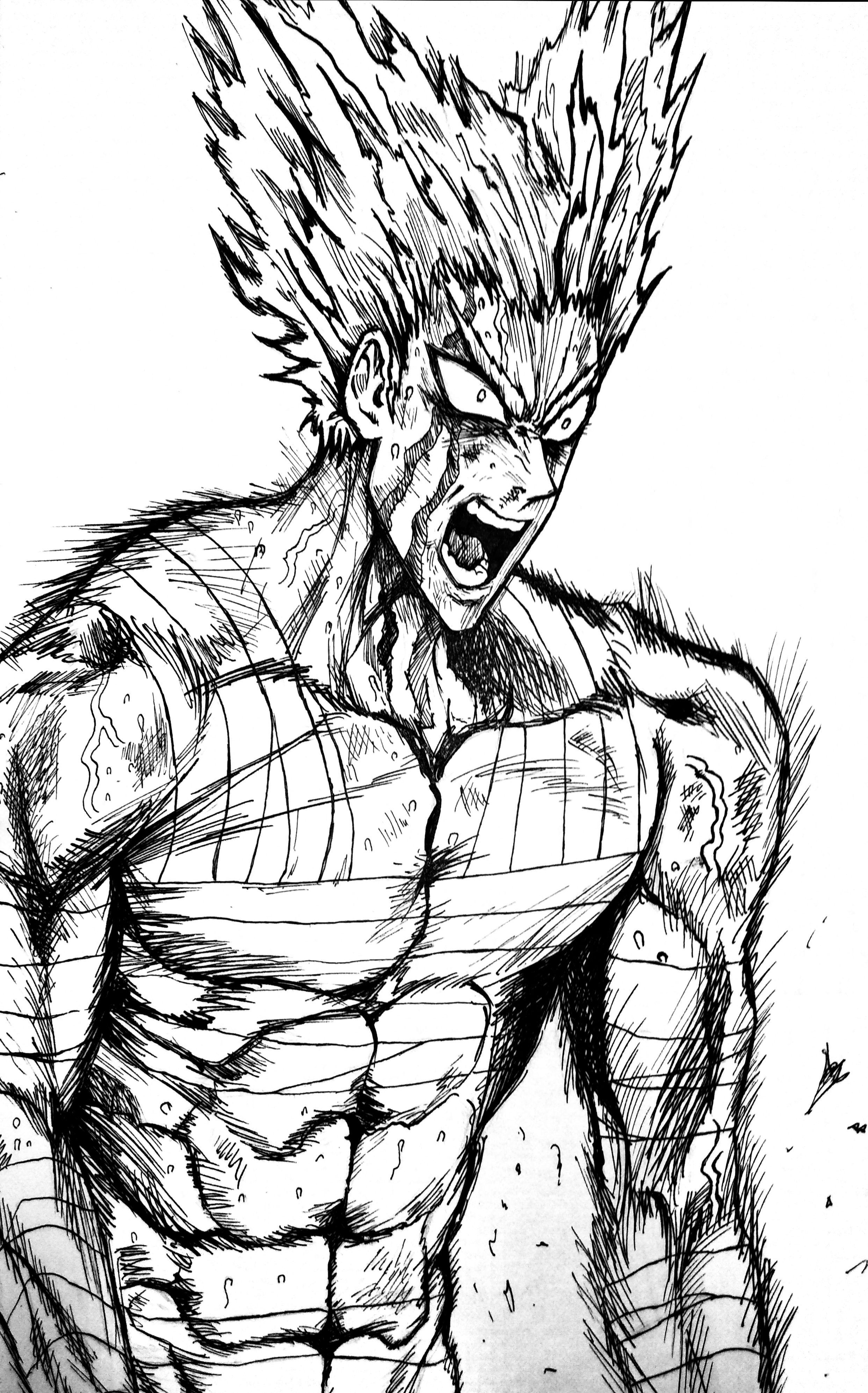 My Garou Drawing Scanner Version R Onepunchman One Punch Man Know Your Meme