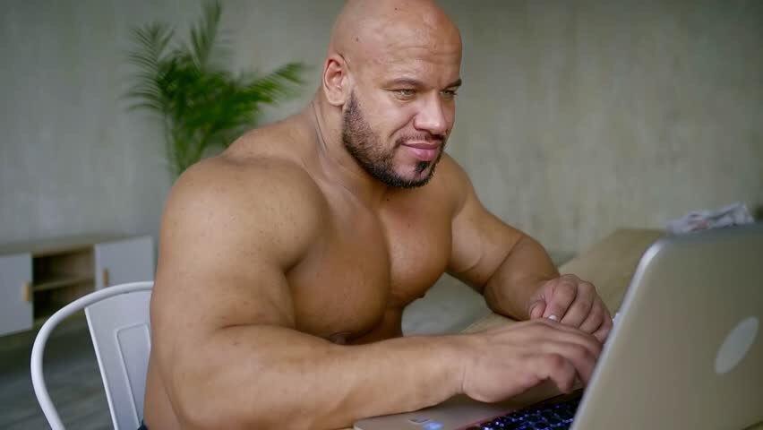 online te koop ziet er geweldig uit uiterst stijlvol Buff Guy Typing on a Laptop Template #1 | Buff Guys Typing ...