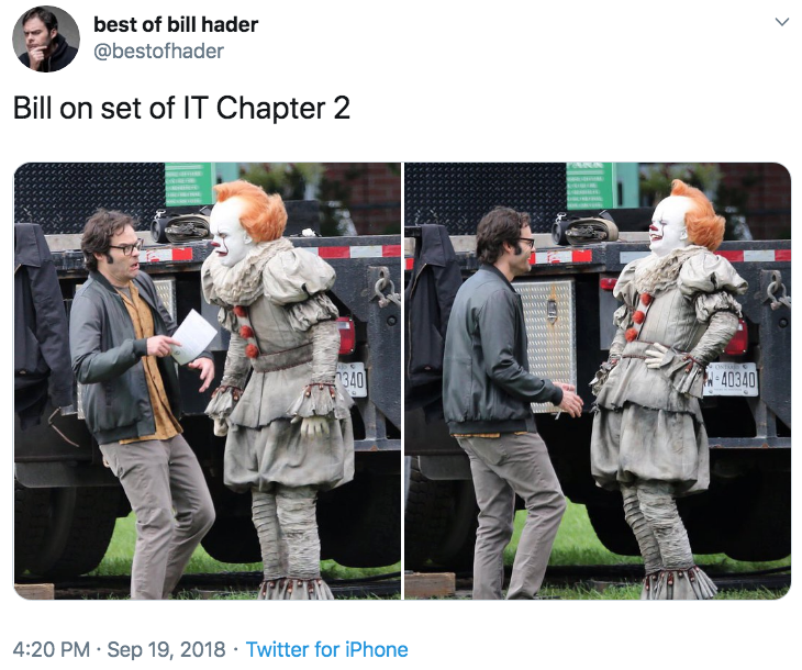Bill On Set Of It Chapter 2 Bill Hader Running From Pennywise
