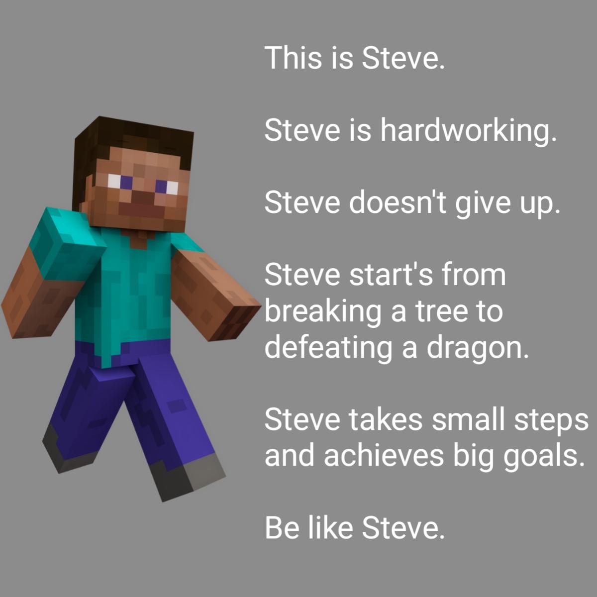 Be Like Steve R Minecraftmemes Minecraft Know Your Meme