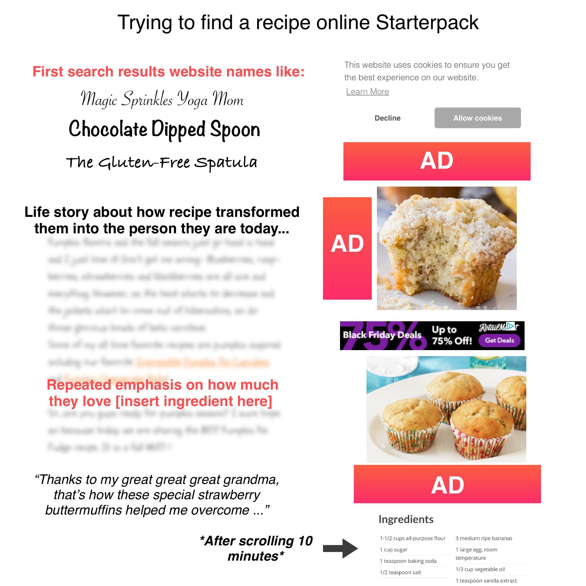 Trying To Find A Recipe Online Starterpack R Starterpacks Starter Packs Know Your Meme