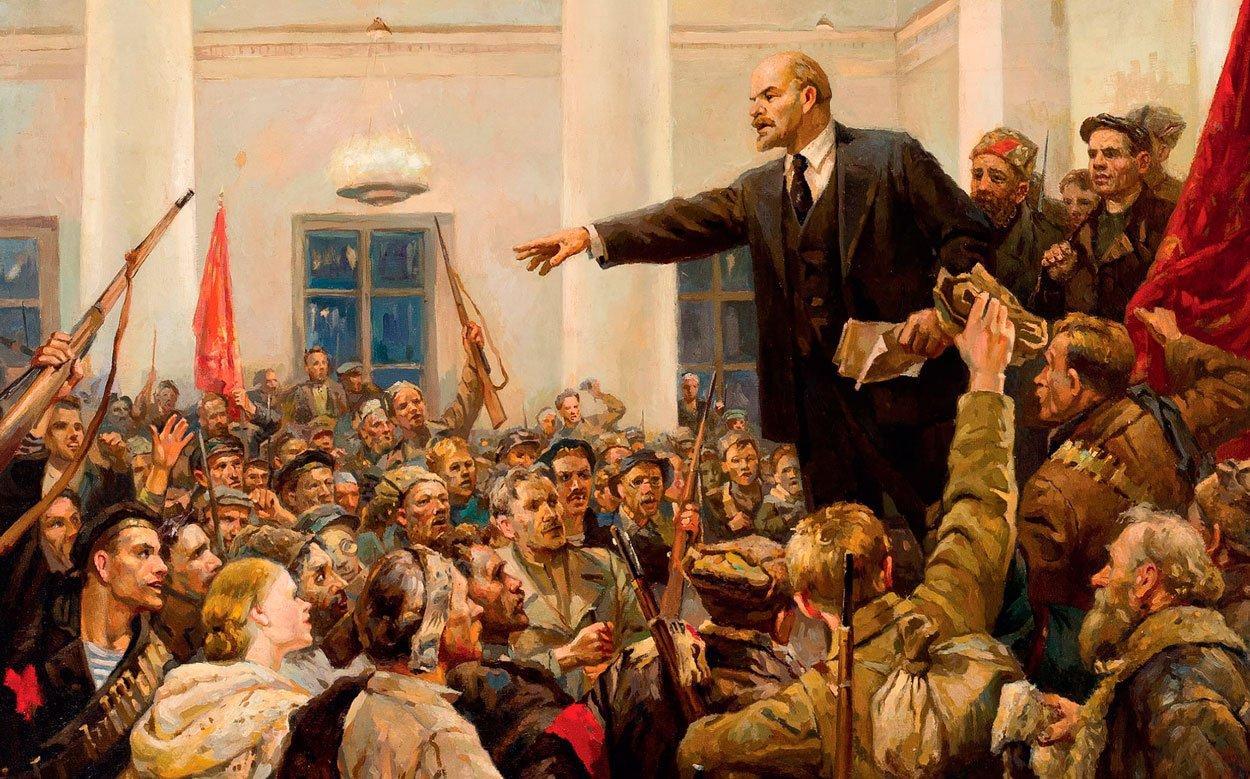Lenin proclaims Soviet power in Smolny Palace, Petrograd, 1917   Vladimir Lenin Addressing Crowd   Know Your Meme