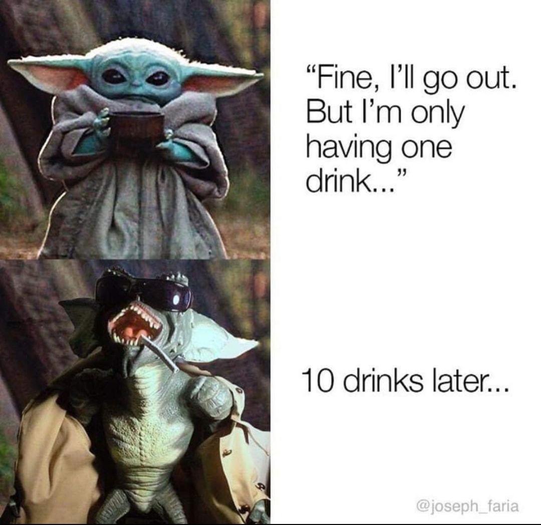 Baby Yoda Meme Drinking Alcohol - 10lilian
