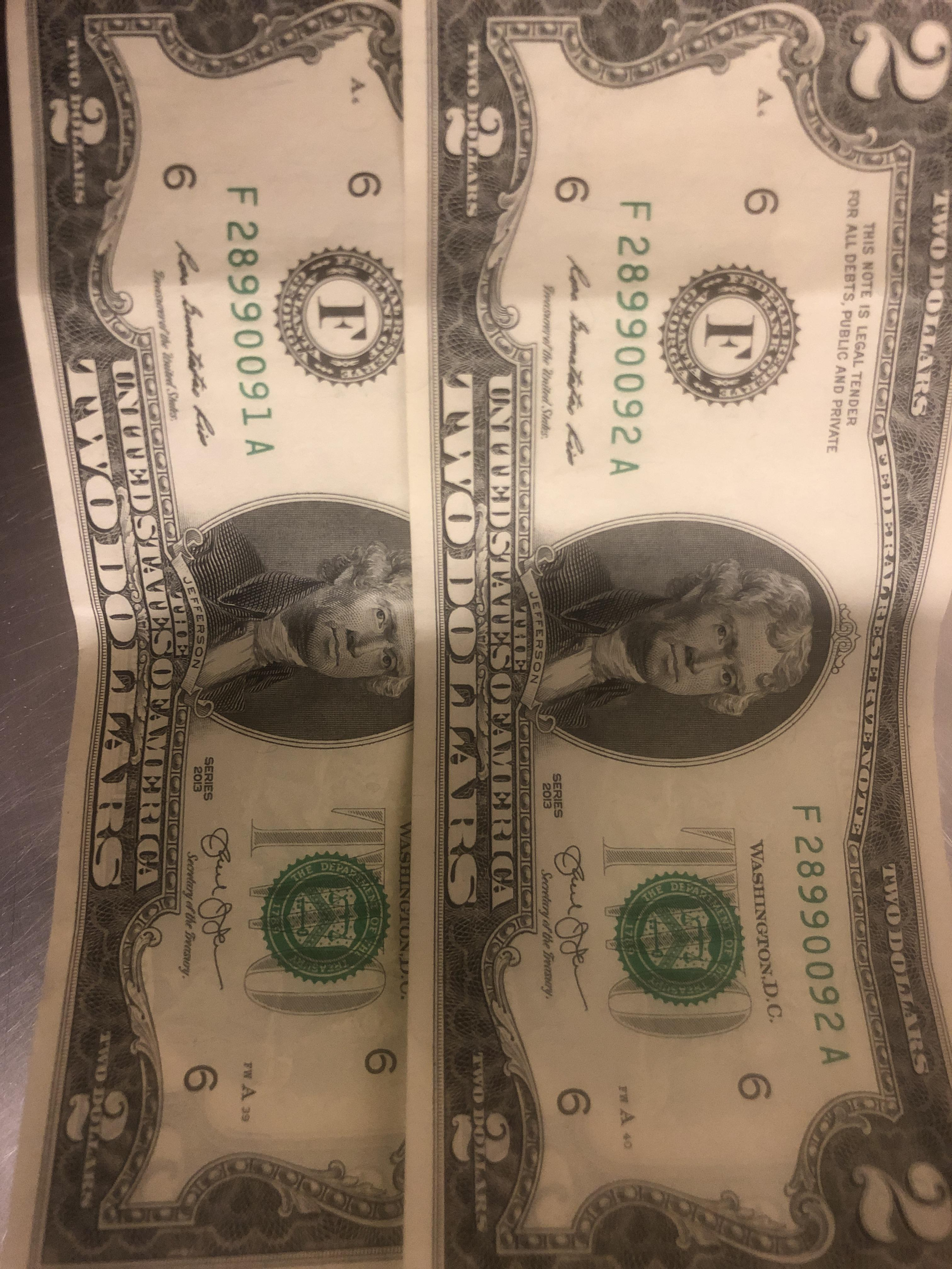 My Two Dollar Bills Are Sequential