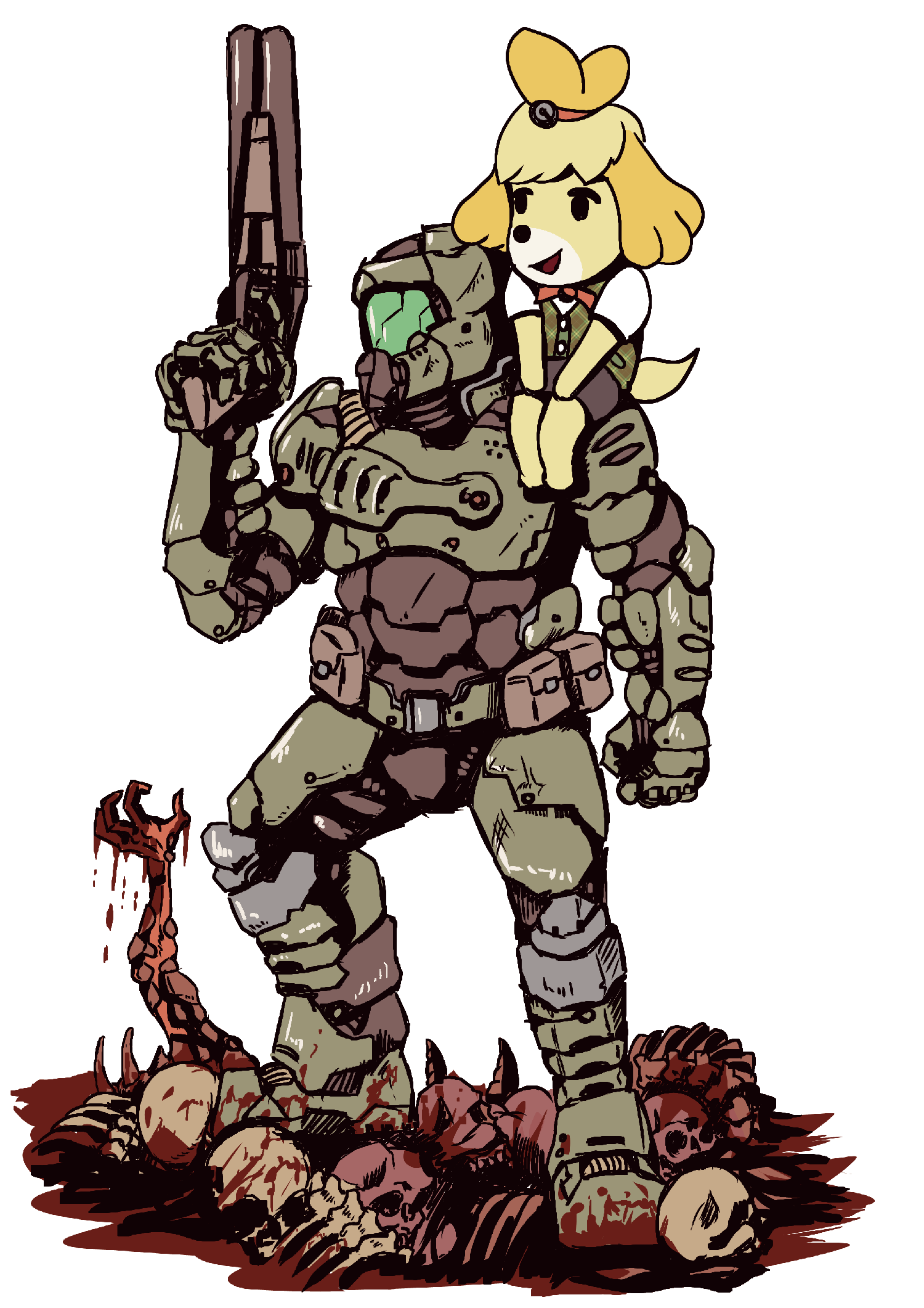 Ultimate Team Doomguy And Isabelle Know Your Meme