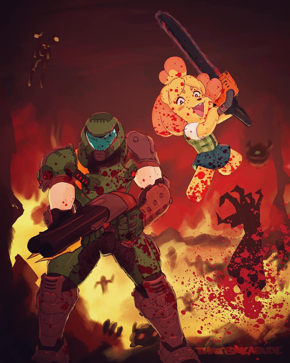 Best Friends Forever Doomguy And Isabelle Know Your Meme