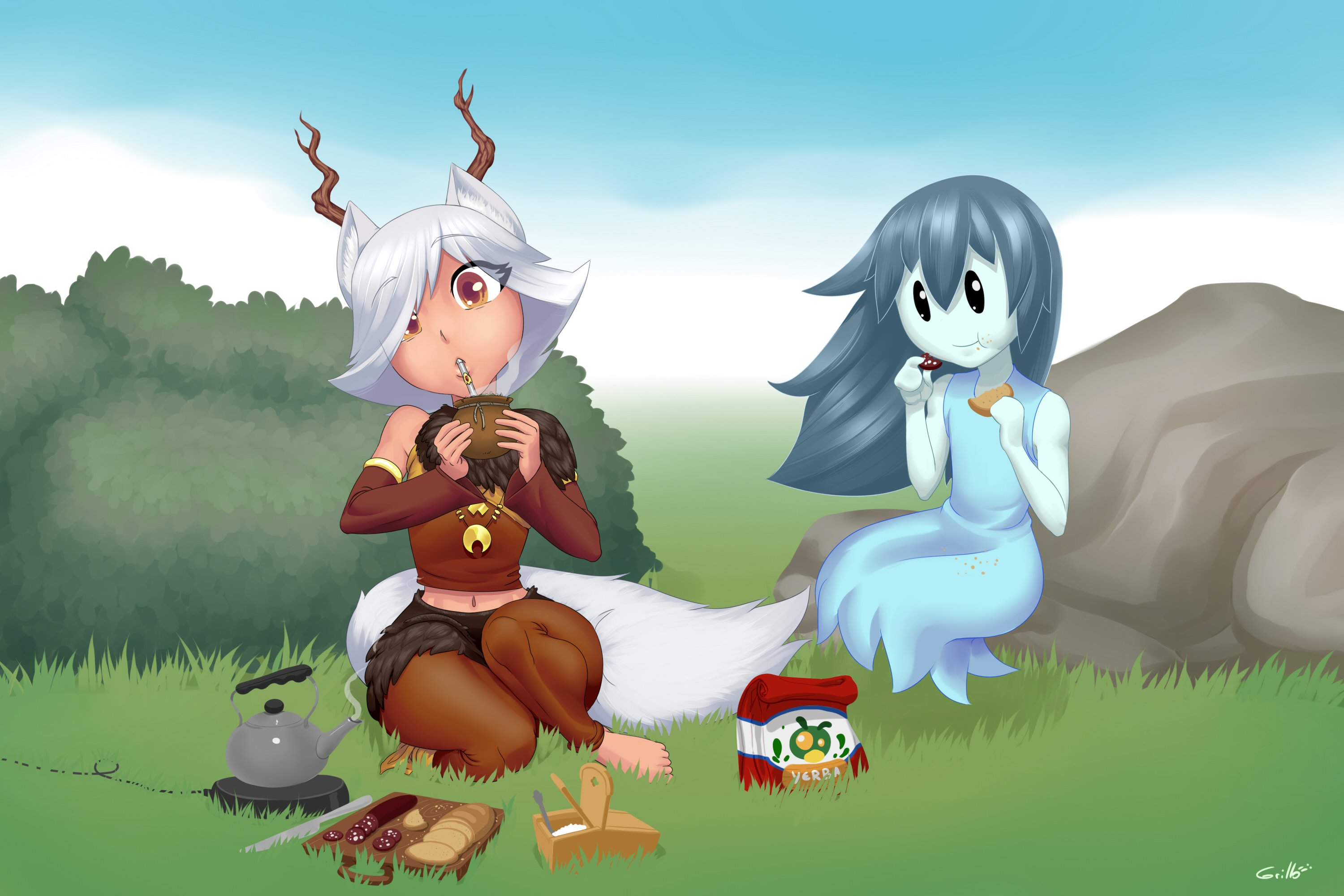 Spooky And Tirsiak Picnic Monster Girls Know Your Meme