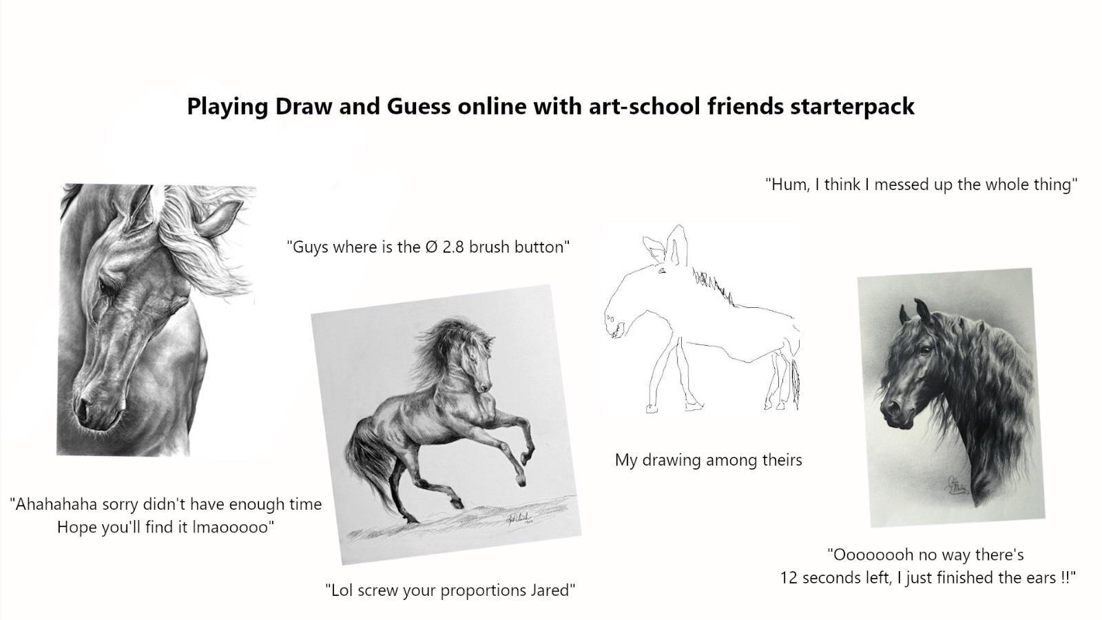 Playing Draw And Guess Online With Art School Friends Starterpack R Starterpacks Starter Packs Know Your Meme You draw, and a neural network tries to guess what you're drawing. playing draw and guess online with art