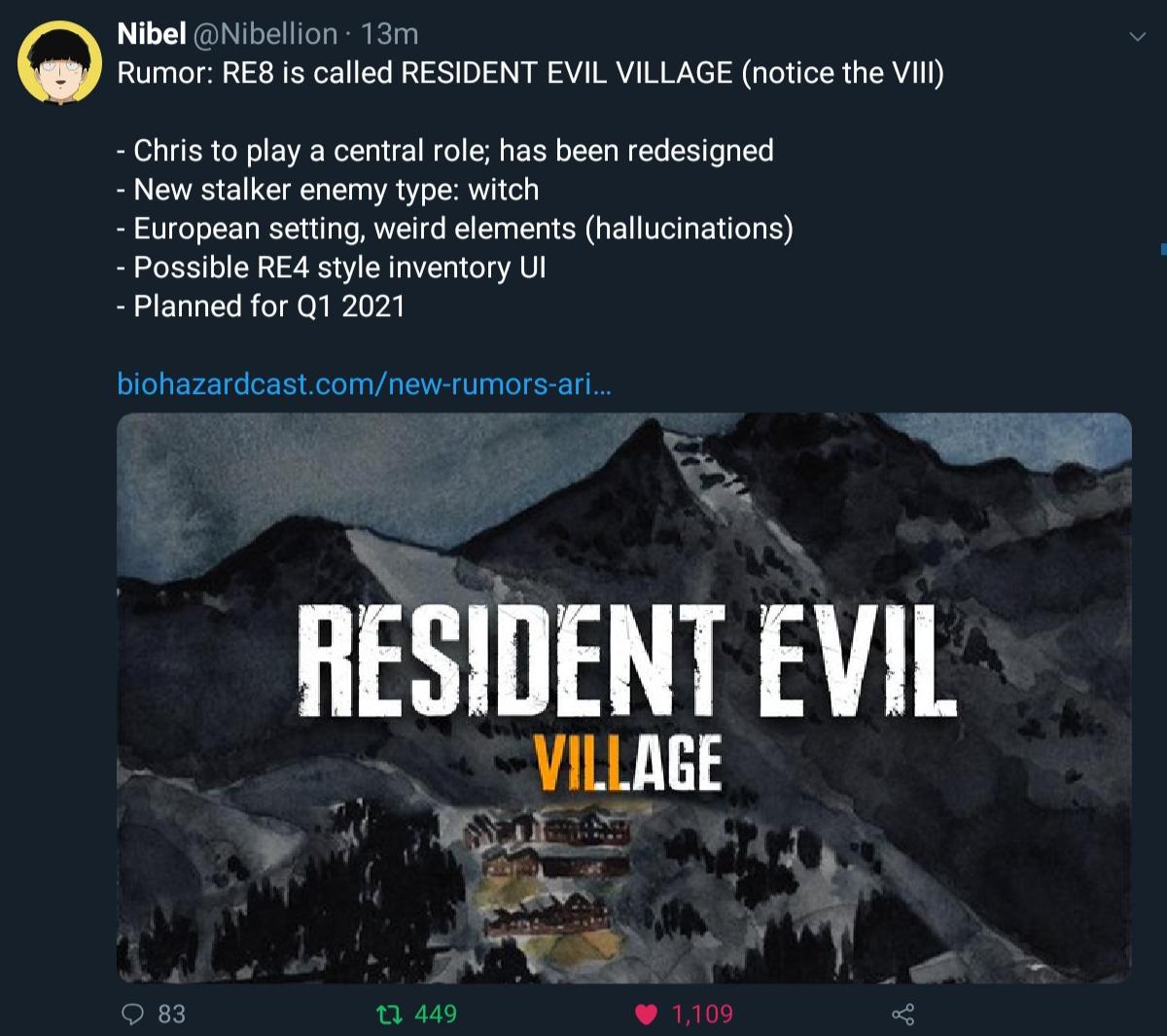 Rumors Resident Evil 8 Village Resident Evil Biohazard Know