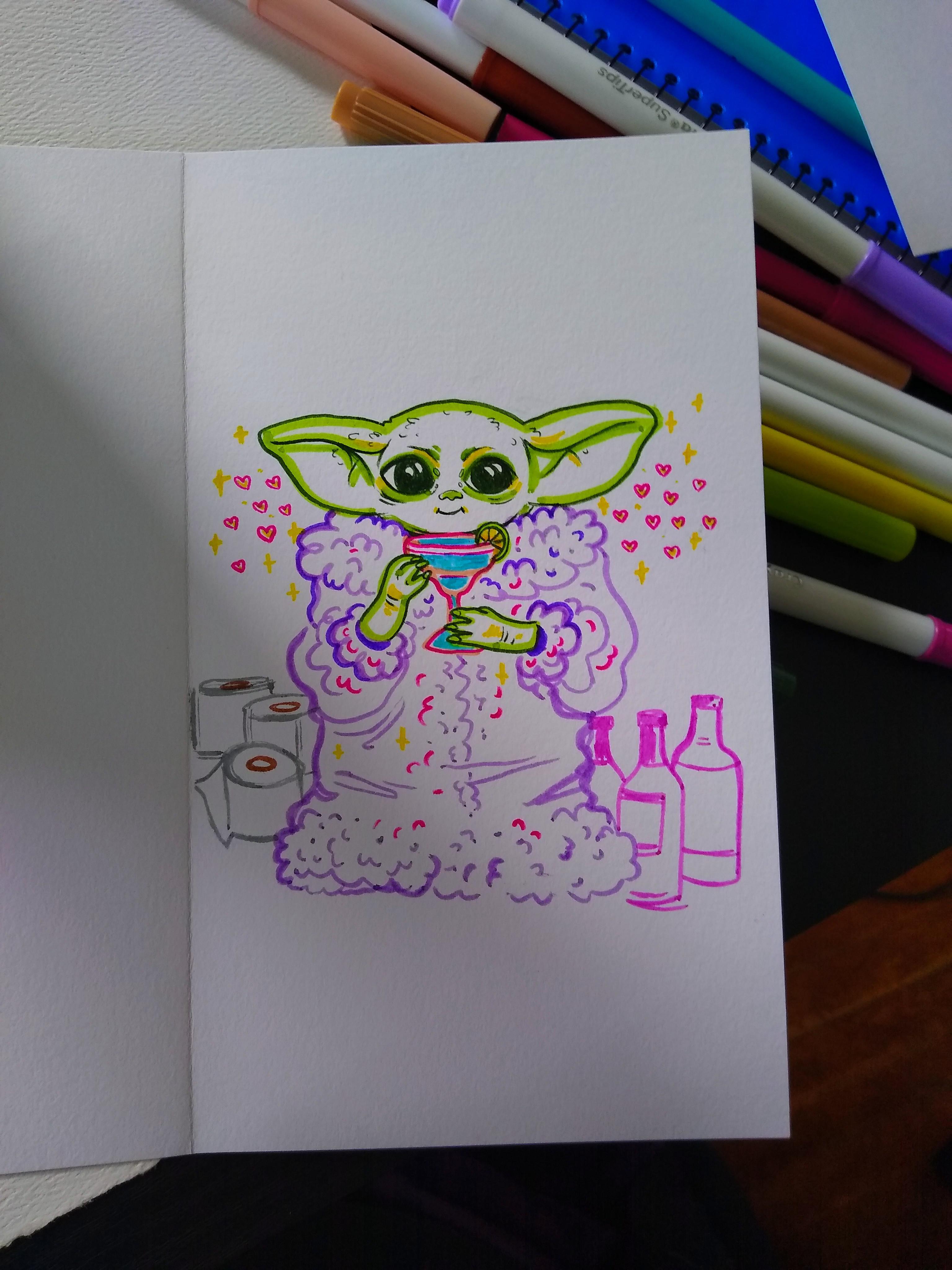 Baby Yoda Quarantine Birthday Card Star Wars Mandalorian