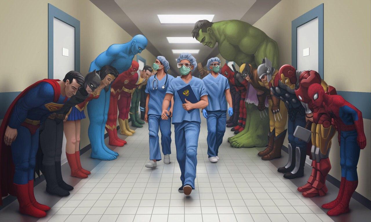 doctors covid-19 superheroes