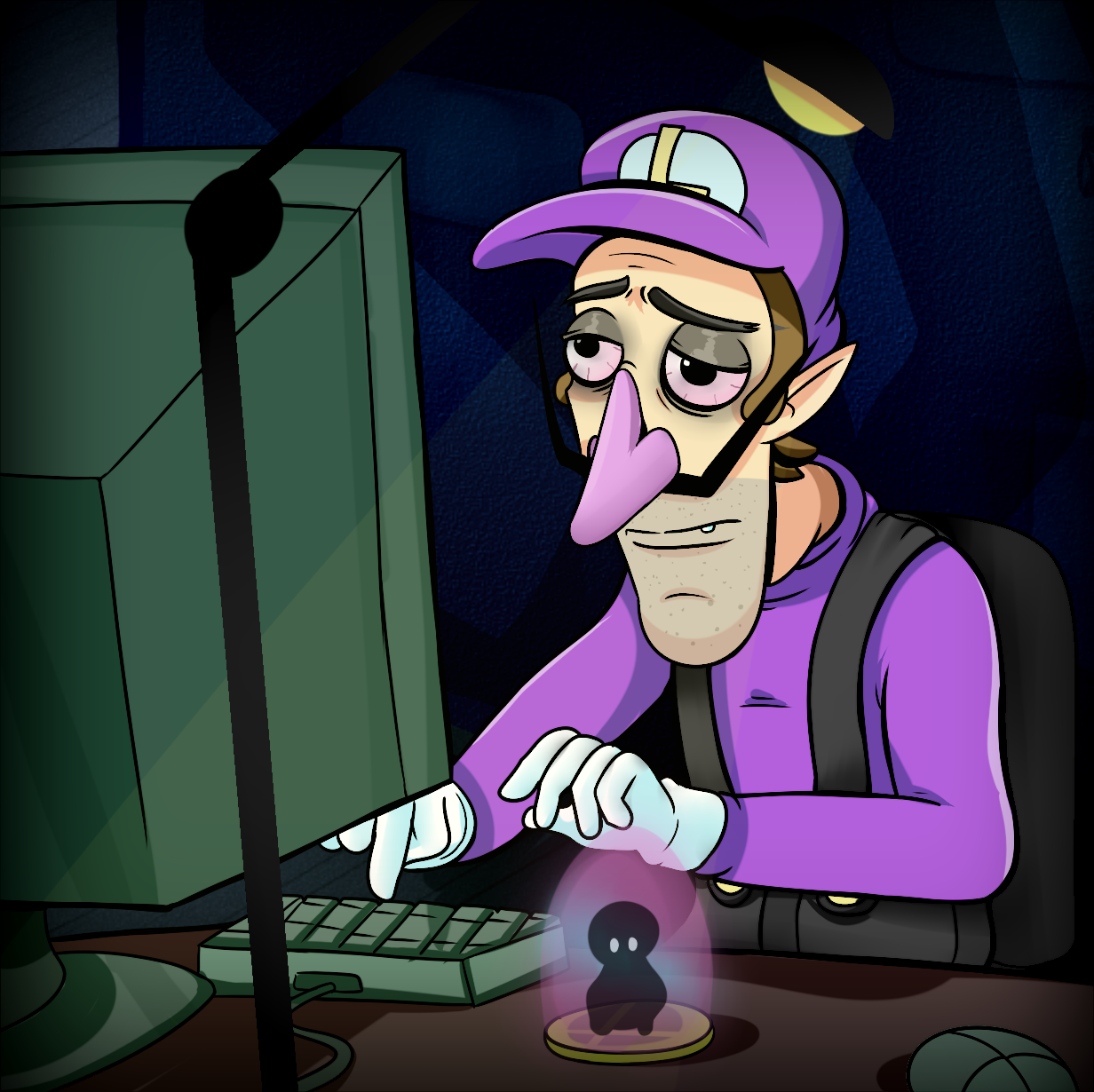 Waluigi On The Computer Coraline S Dad Are You Winning Dad Know Your Meme